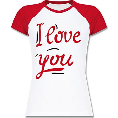 Valentinstag - I Love You Motiv groß - zweifarbiges Baseballshirt / Raglan T-Shirt für Damen Weiß/Rot