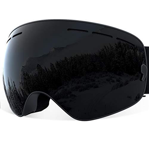 YAKAON Skibrille für Damen und Herren Y1 mit sphärischer Revo-Spiegelscheibe und Rutschfestem Umhängegurt, mit Anlaufschutz, UV-Schutz, Abnehmbarer Scheibe und Umhängeband