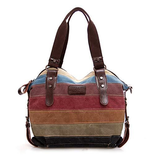 ZWYKH Canvas Tasche Regenbogen Gestreiften Canvas Tasche Mode NäHen Handtaschen Waschlappen Tasche