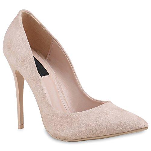 Spitze Damen Pumps Stilettos Lack High Heels Elegant Schuhe 133892 Creme 39 Flandell