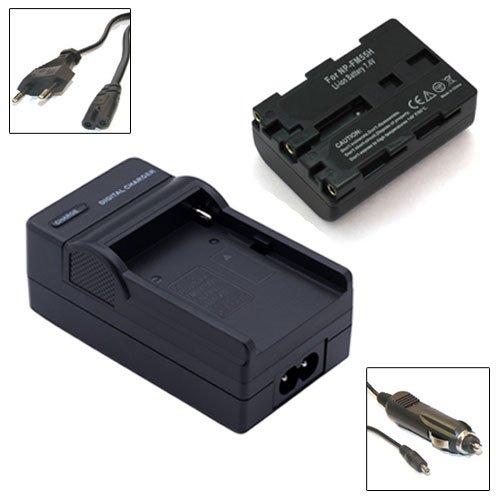 Akku + Ladegerät für Sony Cyber-shot DSC-F707, DSC-F717, DSC-F828, DSC-R1, DSC-S30, DSC-S50, DSC-S70, DSC-S75, DSC-S85 - NP-FM50, NP-FM55 - 1300mAh Li-ion