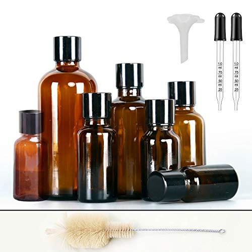 Körper-Öl Essentials Kit (7 Stück Essential Öl Flasche Bottles Leer Amber Glasses Spray Flaschen DIY Blends Supplies Tool & Zubehör Parfüm-Aromatherapie Carrier Oil Kit Bulk Essentials (7 Flasche mit ätherischem Öl))