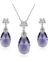 XUPING Fashion Earrings Necklace Crystals from Swarovski Charm Jewellery Set for Women Lady Girl Christmas Day Gifts EcTYUOuqp