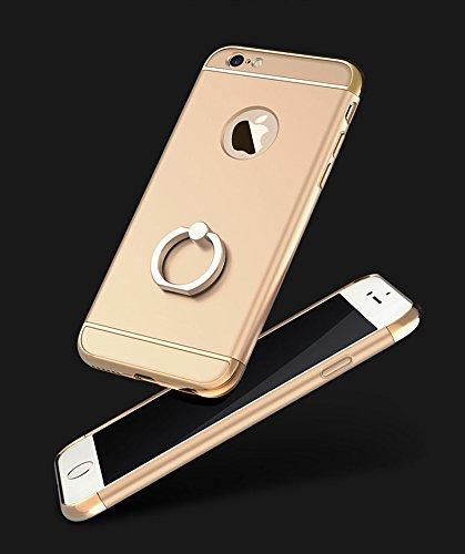 iPhone SE 5S 5 Housses,Housses et étuis téléphones portables, Besta® [Avec anneau Bracket]Ultra-mince 3 en 1 anti-rayures anti-empreintes digitales antichoc Résistez Cracking Electroplated Metal Textu Ring Kickstand/Gold