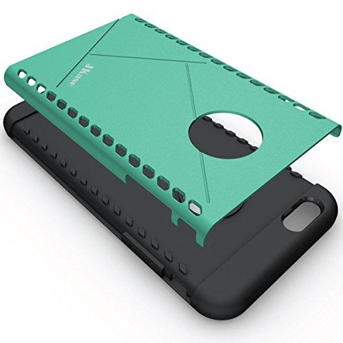 JKase - Série CANVAS- Protection Double Couche - Coque de Armure pour Apple iPhone 6S Plus / 6 Plus (Argent) Vert