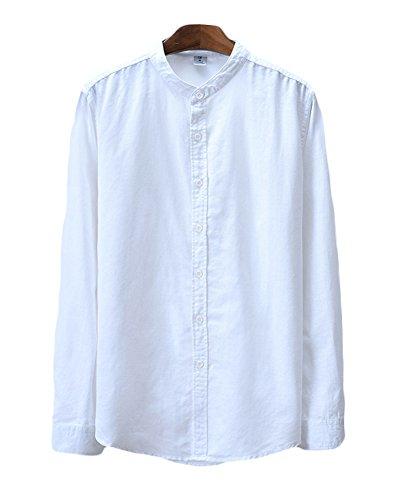 Icegrey camicia uomo con collo coreana camicie di lino a maniche lunghe colore solido camicie da spiaggia bianco 44