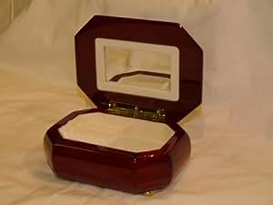Red Wood Burl Inset Octagonal Jewellery Box Internal Mirror New