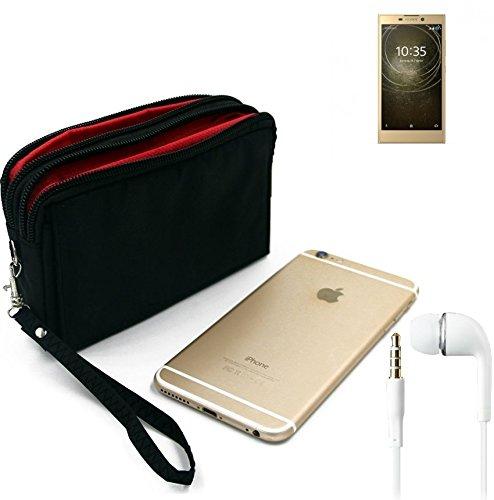 K-S-Trade TOP Set für Sony Xperia L2 Dual-SIM Gürteltasche schwarz + Kopfhörer Travel Bag Travel-Case mit Diebstahlschutz praktische Schutz-Hülle Schutz Tasche Outdoor-case für Sony Xperia L2
