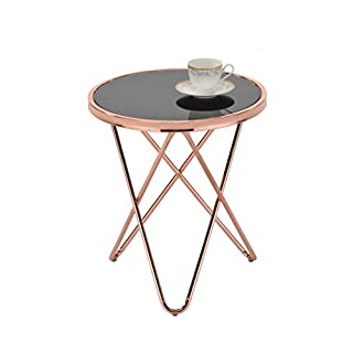 ASPECT Porto Round Side End Coffee Table, Copper/Black, 45 x 45 x 50 cm
