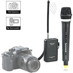 Saramonic WM4CA Profesional inalámbrico portátil VHF Sistema de micrófono de mano para cámara DSLR / videocámara, compatible con Canon / Nikon / Sony / Panasonic / BlackMagic / Zoom / Tascam / Roland
