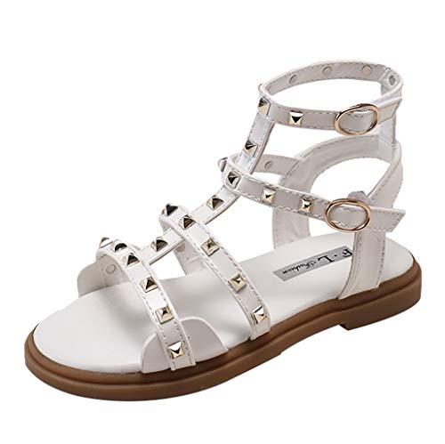 Fenverk Kinderschuhe MäDchen Sandalen Kindersandale Geschlossene Leder Innensohle Sandale Sommer Sandaletten Lauflernschuhe Schuhe(Weiß,35)