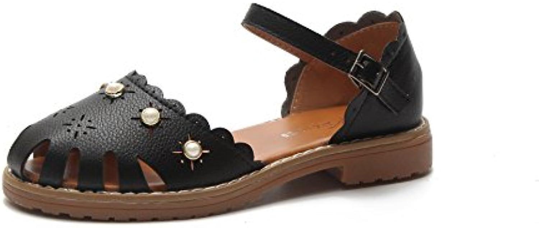 Baotou Sandalias cómodas con tacón crudo, negro, treinta y cinco