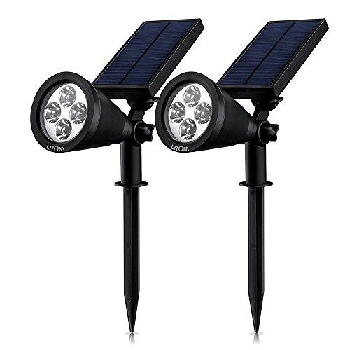 LITOM 2 Stück LED Solar Spotlight, superhelle 200 Lumen Gartenleuchte