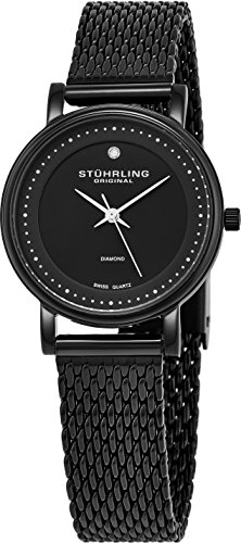 Stuhrling Original Mujer Milán Mesh Damas Minimalista 29 mm Diamond Accent reloj de la cara Lujo de moda con clase Ronda 762 4 joyas chapado en oro suizo de cuarzo negocio elegante reloj de pulsera