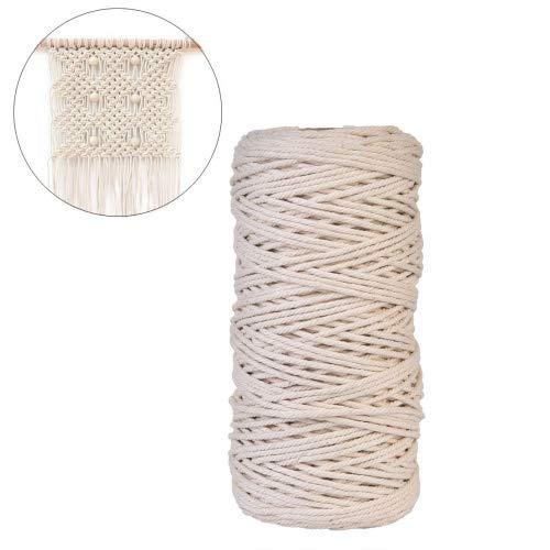 Cuerda de hilo macramé natural, hecho a mano, cordón de algodón, para colgar en la pared, para colgar plantas, ovillo de cuerda de artesano, para tejido, 3mm x 200m.