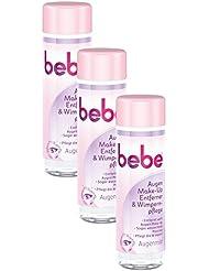 bebe Augen Make-Up Entferner & Wimpernpflege / Milde Reinigung für Gesicht & Augen - ohne Parfüm und Alkohol / 3 x 125ml