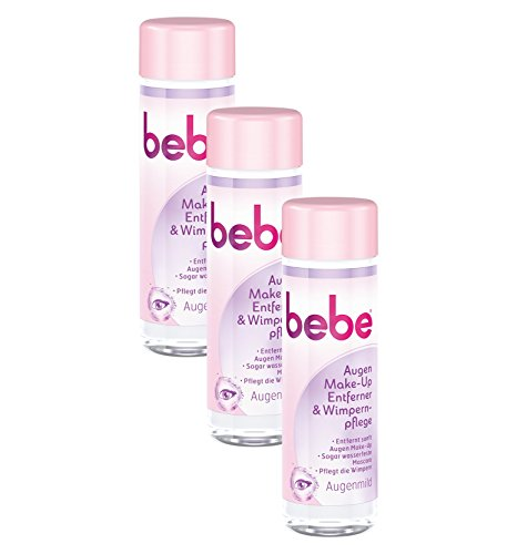 bebe Augen Make-Up Entferner & Wimpernpflege - Milde Reinigung für Gesicht & Augen - ohne Parfüm und Alkohol - 3 x 125ml