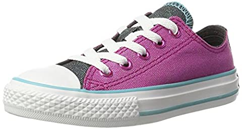 Converse Unisex-Kinder All Star Double Tongue Sneaker, Mehrfarbig (Magenta Glow/Fresh Cyan/White), 36 EU