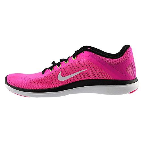 Nike Flex 2016Rn, Chaussures de Running Compétition Femme, UK Pink Blast/White/Black/Elctrc Grn