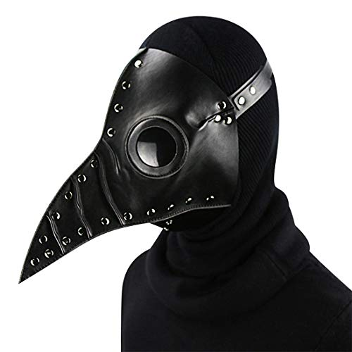 Pest Doktor Maske Halloween Requisiten Kostüm Steampunk Gothic Cosplay Retro Leder Vogel Maske,Black-OneSize (Maske Party-stadt Schwarzen Der)