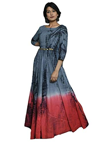 Grey and Orange Frock - Women's Ethnic designer Wear from Dilat with cotton silk fabric