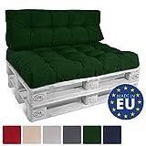 Beautissu Cuscino per bancali di Legno Eco Style -120x80x15 cm-Comoda Seduta per Divano Pallet di Legno- Verde Scuro