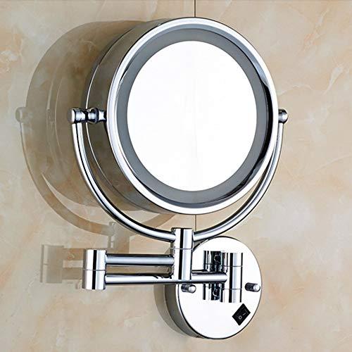 Miroir de Maquillage Miroir de Poche grossissant LED avec Lampe 7 Fois grossissement Pliage télescopique de Salle de Bain Double Face (Couleur : Silver)