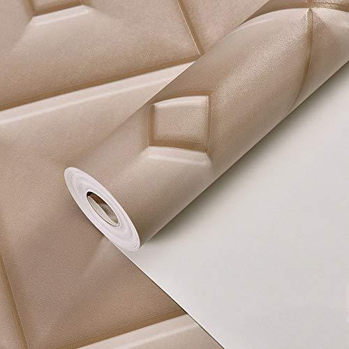 MMPY Mode Plaid Wallpaper Einfache Stereo Soft Pack Tapete Schlafzimmer Bedside Wohnzimmer TV Hintergrundbild (Farbe : Light Brown) -