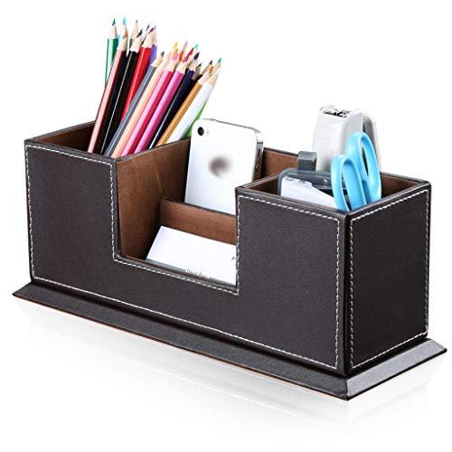 Schreibtisch Organizer Aufrecht Stifthalter, Multifunktionale Büro Lagerung Fächern Leder für Schreibwaren Pen Zubehör-Brown -