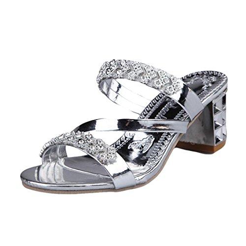 Pantofole,odejoy donne strass pantofole scarpe open toe stile bohemie con tacco alto estivi sandali donna eleganti donna strass scarpe ciabatte pantofole da spiaggia ragazze infradito (41, silver)