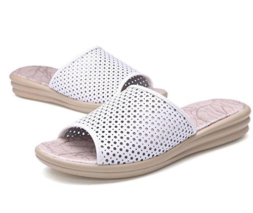 Moderne Sommer Damen Slip On Atmungsaktive Hohl Plateau Hausschuhe Anti Rutsch Weiche Sohle Gummi Anti Rutsch Strandschuhe Sandalen Weiß