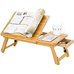 Stvin Bamboo Adjustable Laptop Table Foldable Desk With Drawer (Beige)