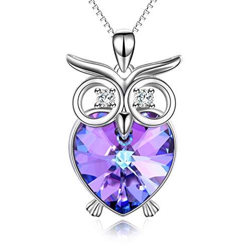 Damen Kette Eule Sterling Silber Herz Anhänger Halskette mit Kristallen von SWAROVSKI Eulen Geschenke für Frauen
