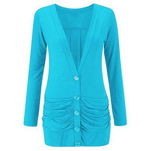FASHION CHARMING pour femme à manches longues et à boutons Blazer cardigan Boyfriend Poches Casual Jersey Femme - TRUQUOIS