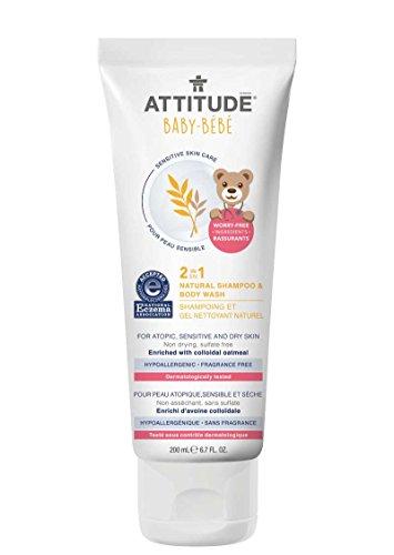 ATTITUDE - Beyé Champù y Gel de Ducha Natural 2 en 1 - Con Avena Coloidal - Hipoalergénico, perfecto para Pieles Extremadamente Sensibles o Atópicas - Certificado NEA - Vegan - 200 ml