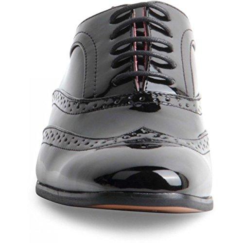 Lacets cuir italien véritable pour homme Doublure capuchon Toe Chaussures richelieu Noir