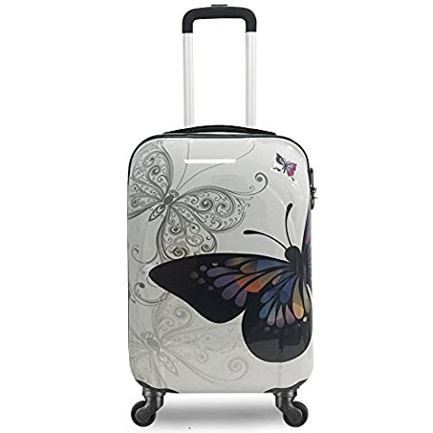 Valise cabine 55cm bagage a main femme enfant avions low cost 4 roues Papillon léger 40 L