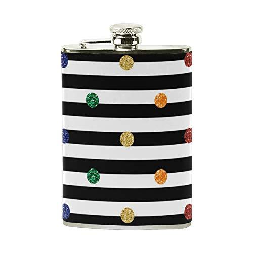 Orediy Petaca de acero inoxidable con diseño de lunares coloridos y rayas de bolsillo, petaca portátil de 8 onzas, bote de vino de cuero envuelto