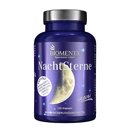 BIOMENTA NACHTSTERNE | AKTION!!! | mit Baldrian, Hopfen, GABA, Melisse, Passionsblume, Lavendel, Magnesium, Vitamin C, Vitamin B3, B6, B12 | 120 VEGANE Baldrian Kapseln