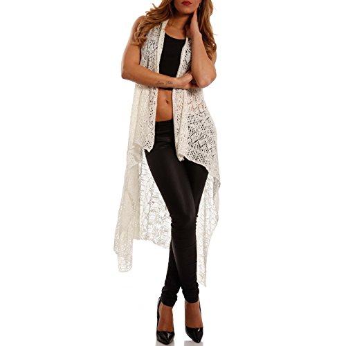 Damen Long Cardigan Weste im Open-Style (One Size, Weiß) -