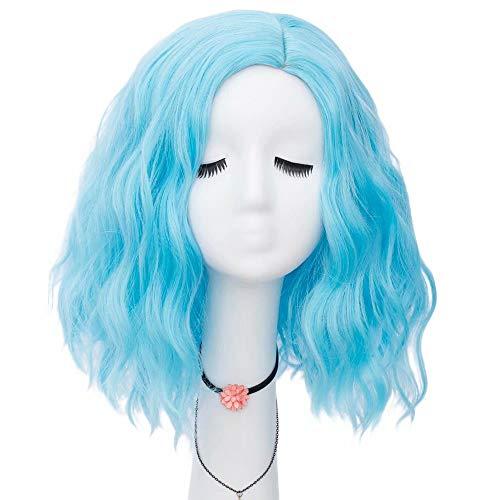 NiceLisa Frauen Mädchen 16 Zoll Mittellanges Seitenteil Haaransatz Natürliche Welle Hellblau Tägliche Cosplay Perücke
