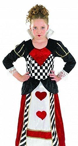 Der Wunderland Kind Kostüm Herzen Königin - Fancy Me Mädchen Lang Königin der Herzen Alice im Wunderland Märchen Büchertag Woche Halloween Kostüm Kleid Outfit 4-12 Jahre - Rot, 8-10 Years