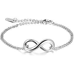 JewelryWe Schmuck Damen Armband Fußkette, Lieben Infinity Zeichen Charm Armreif Fußkettchen, Edelstahl, Silber - 18.5cm Länge