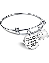 Bangle Bracelets Friendship Best Friend Gifts Elephant Pendant - Friends are always close at heart