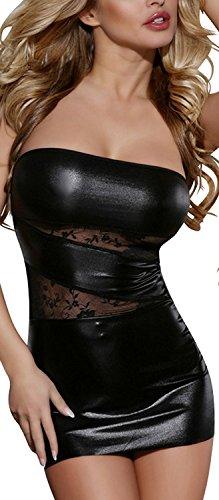 Sexy-Black-Faux-PVC-Micro-Mini-Dress-Mini-Dress-Lace-Bandeau-1214-20107