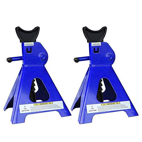 Melko Unterstellböcke 4X für Kfz, Auto, Transporter, Wohnmobil, 3t Tragkraft aus Gusseisen, 9 stufig höhenverstellbar, 28 - 41 cm, blau schwarz