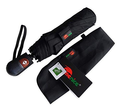 Umenice Ombrello da viaggio di alta qualità e resistenza - 9 stecche rinforzate, funzione anti-vento - Tessuto nero - Teflon
