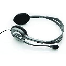 Logitech H110 - Auriculares de Diadema Cerrados (con micrófono con supresión de Ruido), Color Gris