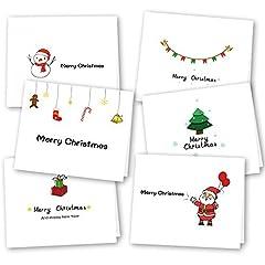 Idea Regalo - Kuuqa 36 Pezzi 6 Disegni Cartoline di auguri di Natale con buste e adesivi