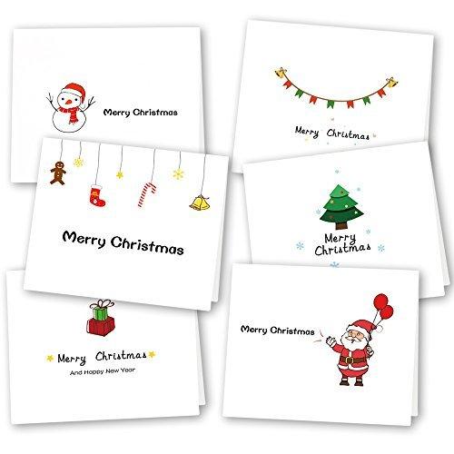 Kuuqa 36 Pezzi 6 Disegni Cartoline di auguri di Natale con buste e adesivi